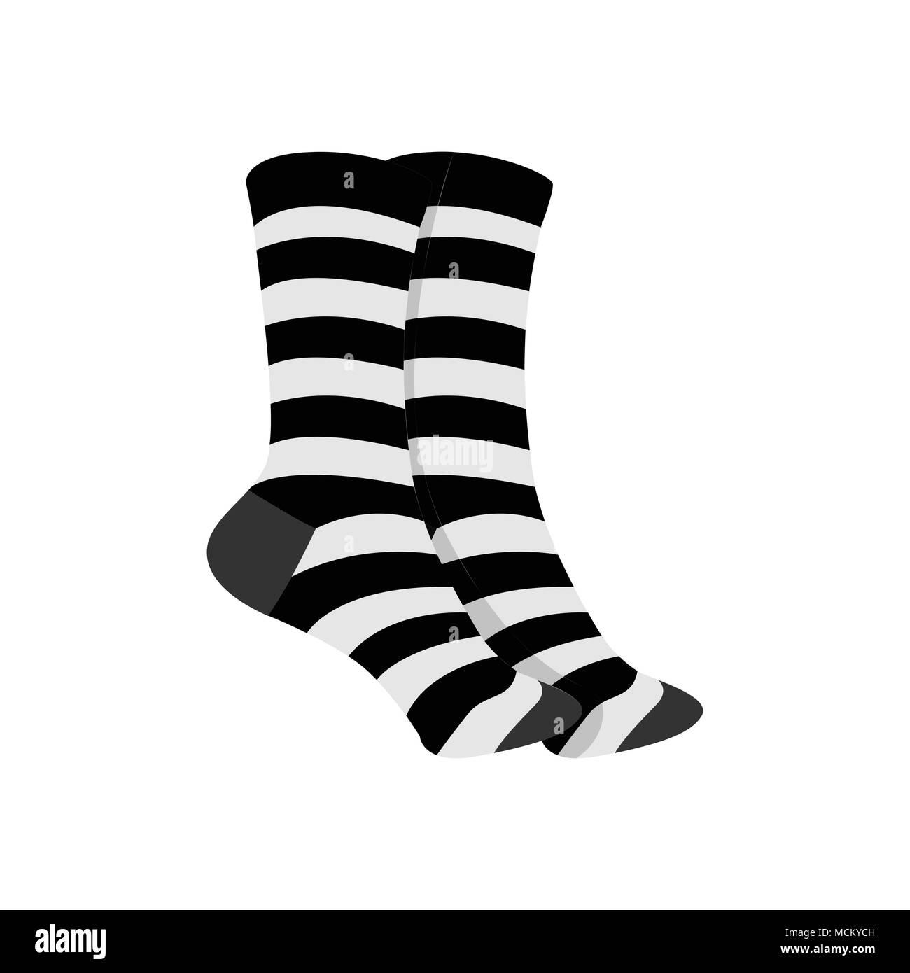 weltweit verkauft farblich passend beste Schuhe Schwarz Weiß Gestreifte Socken Fashion Style Element Vector ...