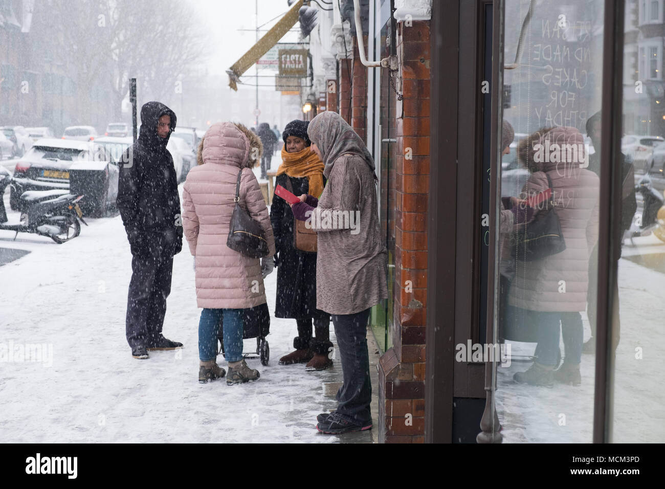 """Die """"Bestie aus dem Osten' kaltem Wetter und Schnee Ende Februar und Anfang März 2018 Stockbild"""