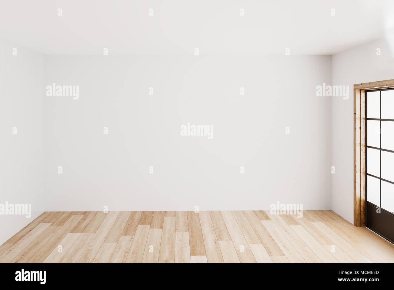 Leer einfach Innenraum Hintergrund leer weiße Wände Ecke und weißem Holz, modern, 3D-Rendering. Stockbild