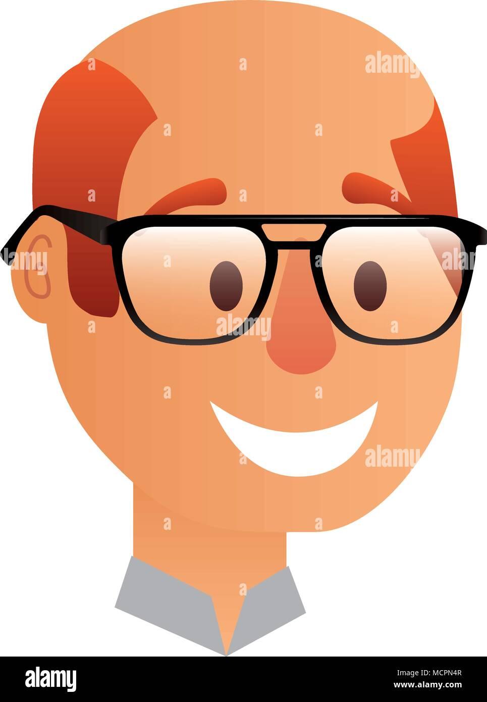 Mann Mit Glatze Mit Brille Comic Figur Vektor Abbildung Bild