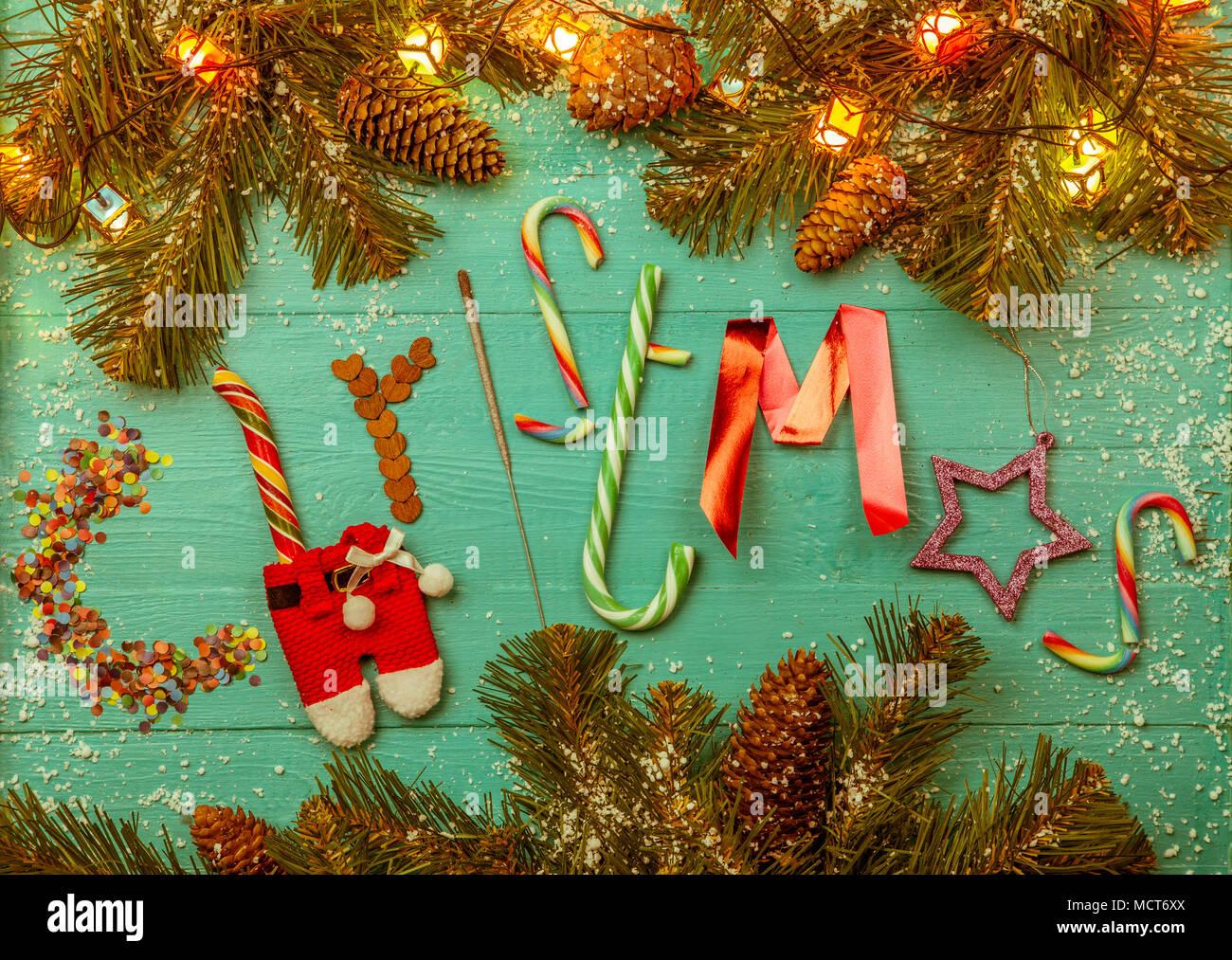 Bild der blauen Tabelle mit Niederlassungen Fichte, Wort Weihnachten ...