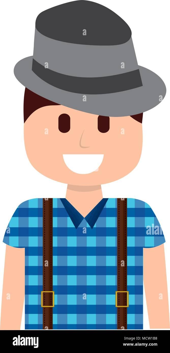Mann Mit Hut Hipster Style Vektor Abbildung Bild 180029452 Alamy