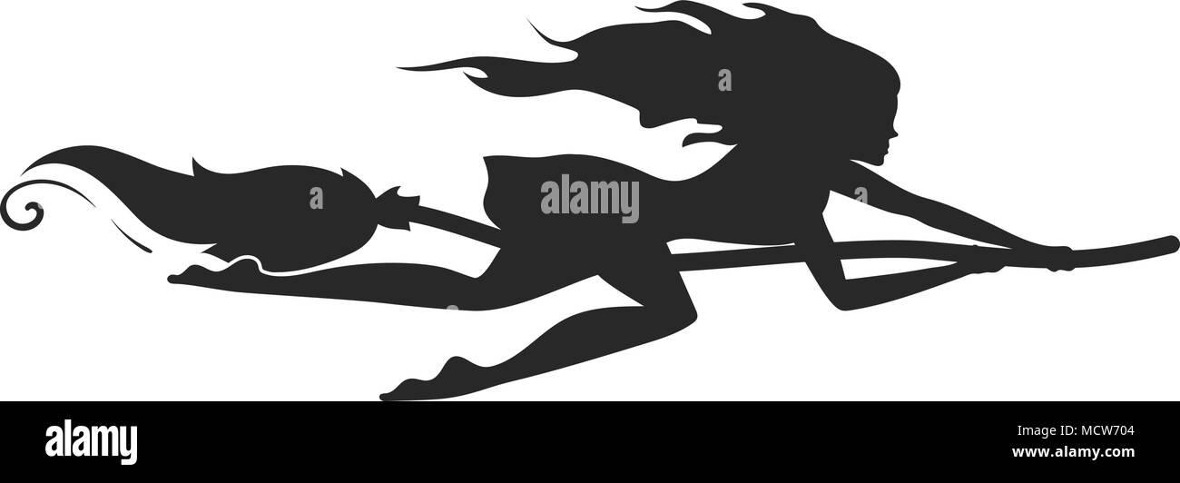 Schwarze Silhouette Eines Schönen Schnellen Hexe Auf Einem Besen