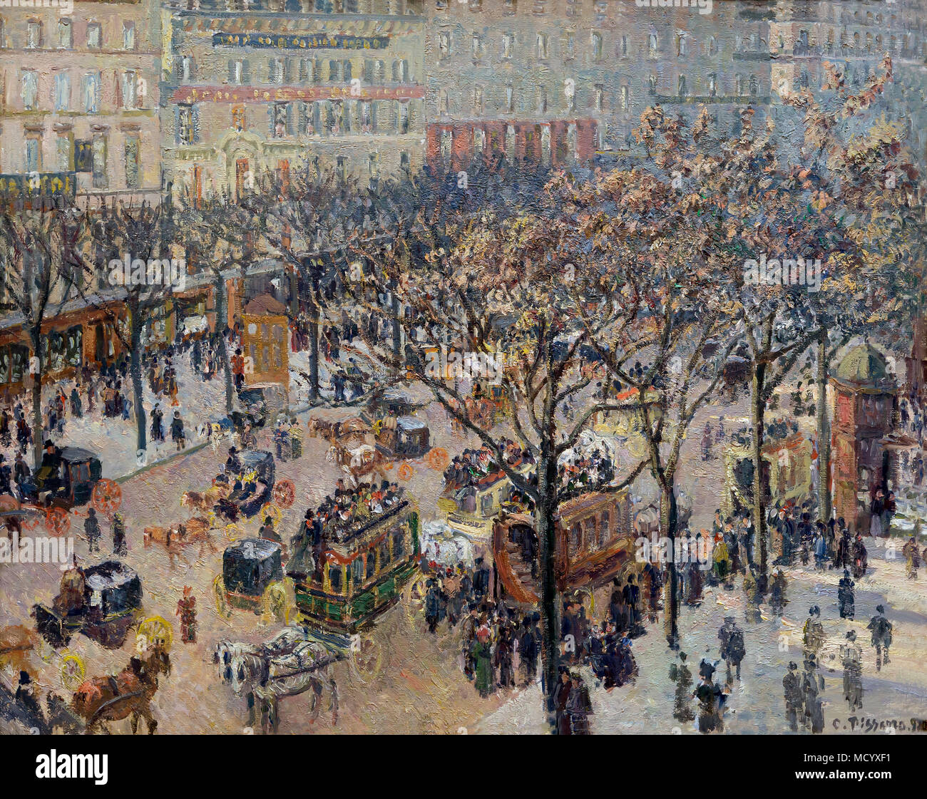 Boulevard des Italiens, Morgen, Sonnenlicht, Camille Pissarro, 1897, Nationalgalerie, Washington DC, USA, Nordamerika Stockbild