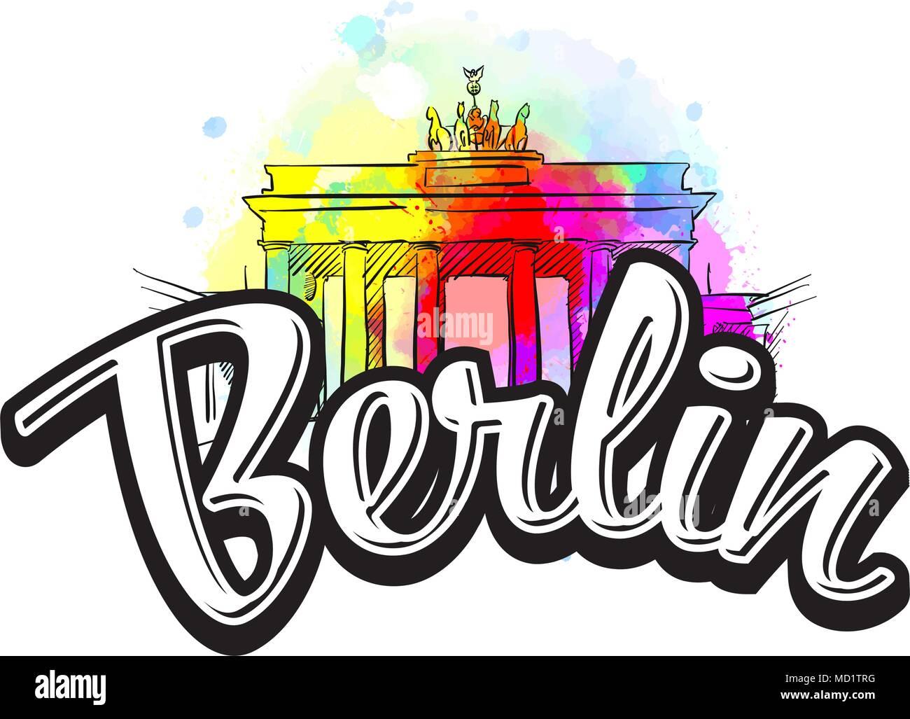 Berlin Brandenburger Tor Zeichnung Mit Schlagzeile Hand Gezeichnet Abbildung Vektor Bild Fur Digitales Marketing Und Postern Stock Vektorgrafik Alamy