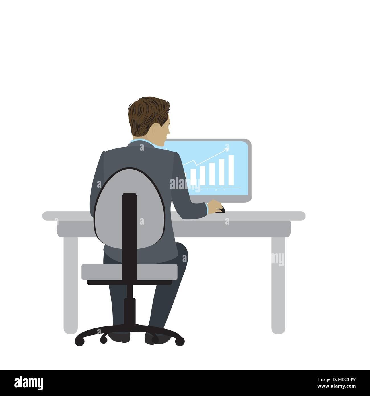 gesch ftsmann oder im b ro am schreibtisch sitzen und arbeiten am computer ansicht von hinten. Black Bedroom Furniture Sets. Home Design Ideas