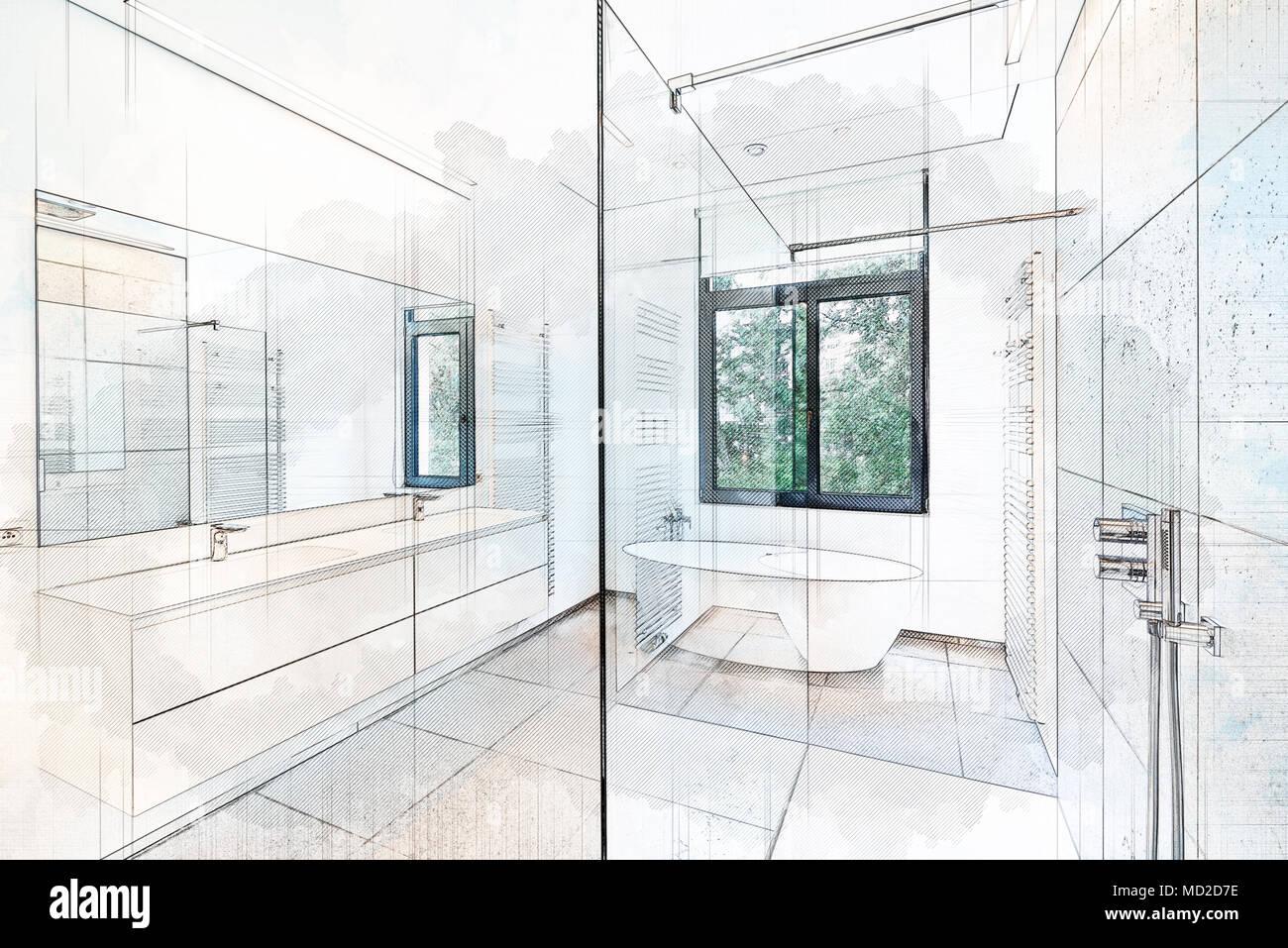 Abbildung Träumen Skizze Einer Badewanne In Corian, Hahn