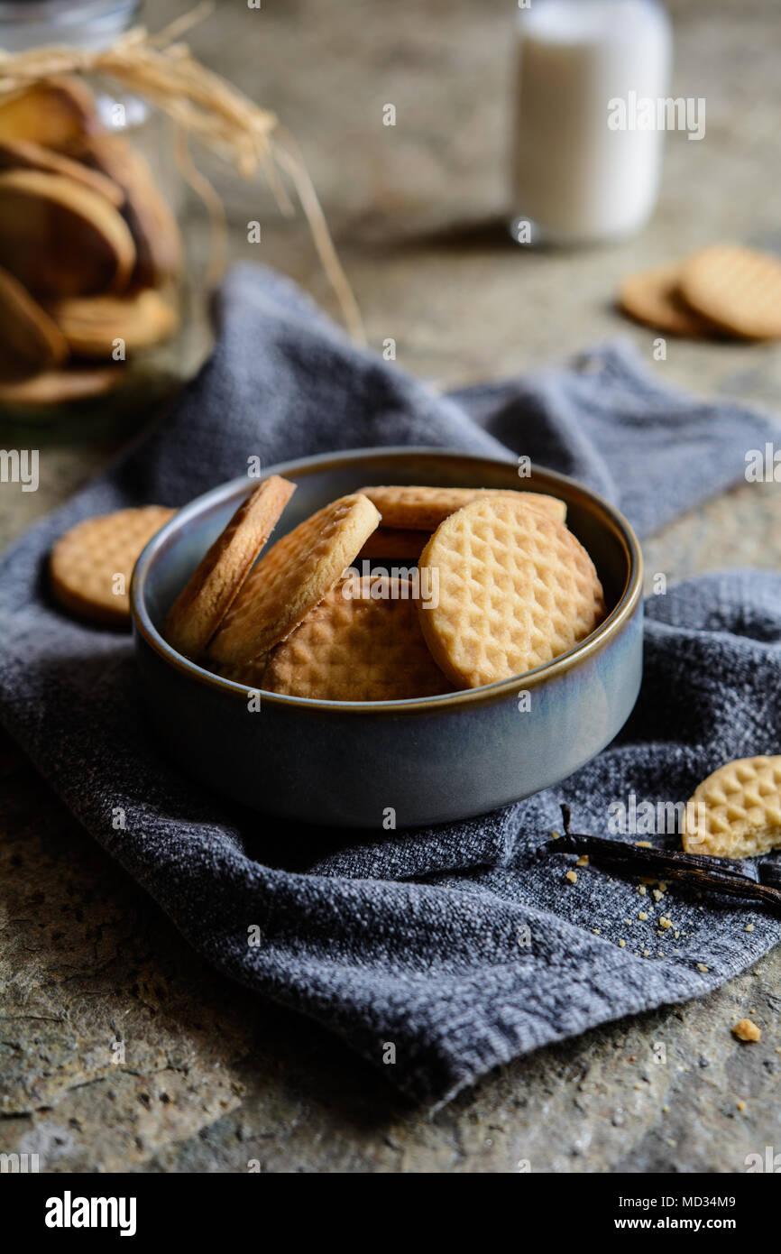 Traditionelle süße frisch gebackene Vanille Butter Biscuits Stockbild