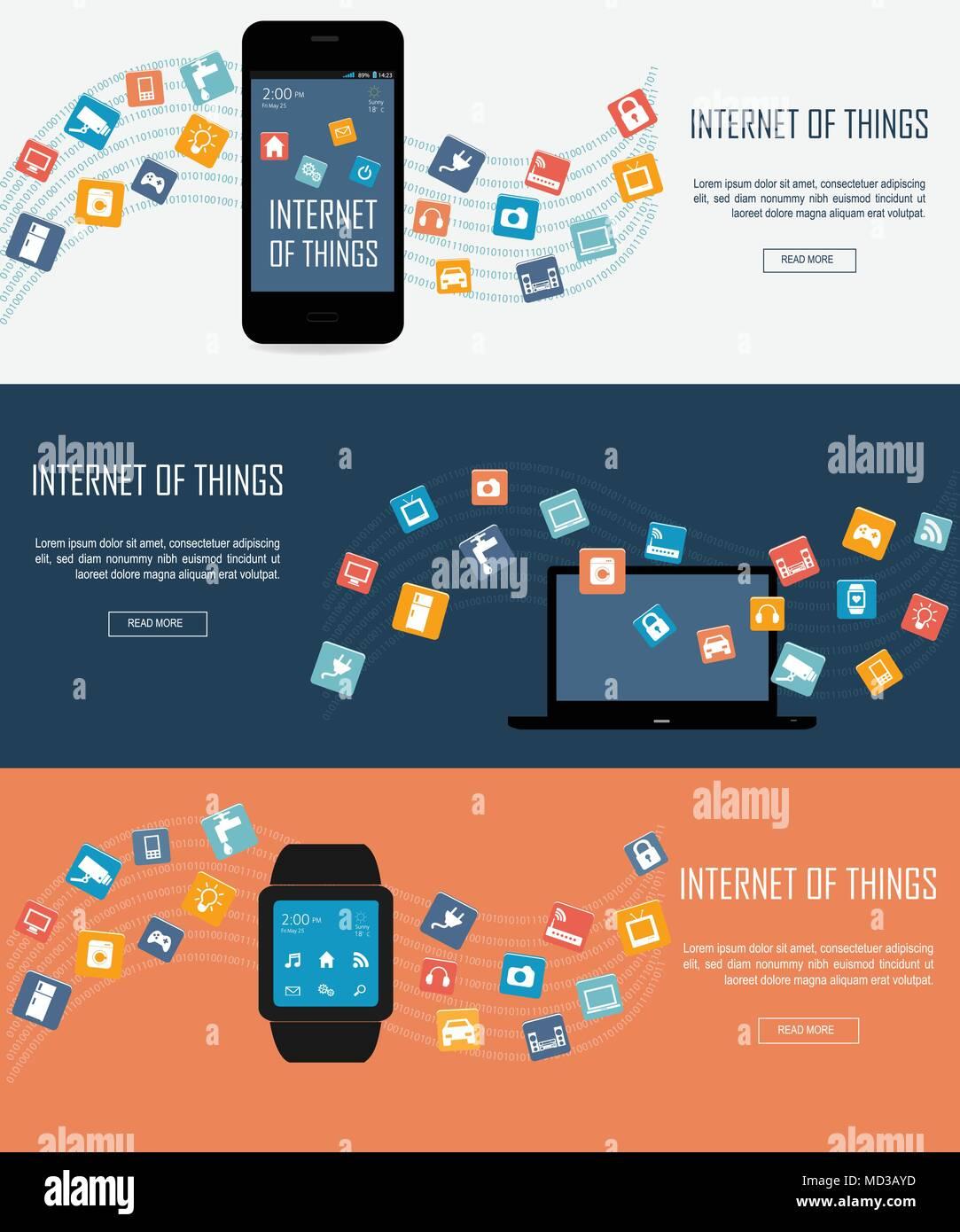 Smartwatch, Laptop, Smartphone mit dem Internet der Dinge (IoT) Symbole verbinden. Internet networking Konzept. Fernbedienung für smart Stock Vektor