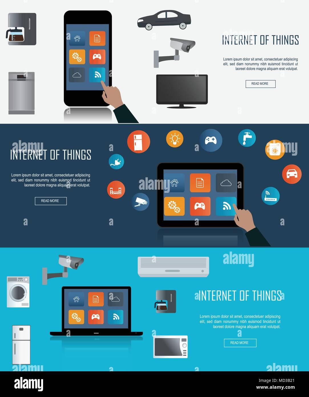 Tablet-PC, Laptop, Smartphone mit Internet der Dinge (IoT) Symbole verbinden. Internet networking Konzept. Fernbedienung für Smart hom Stock Vektor