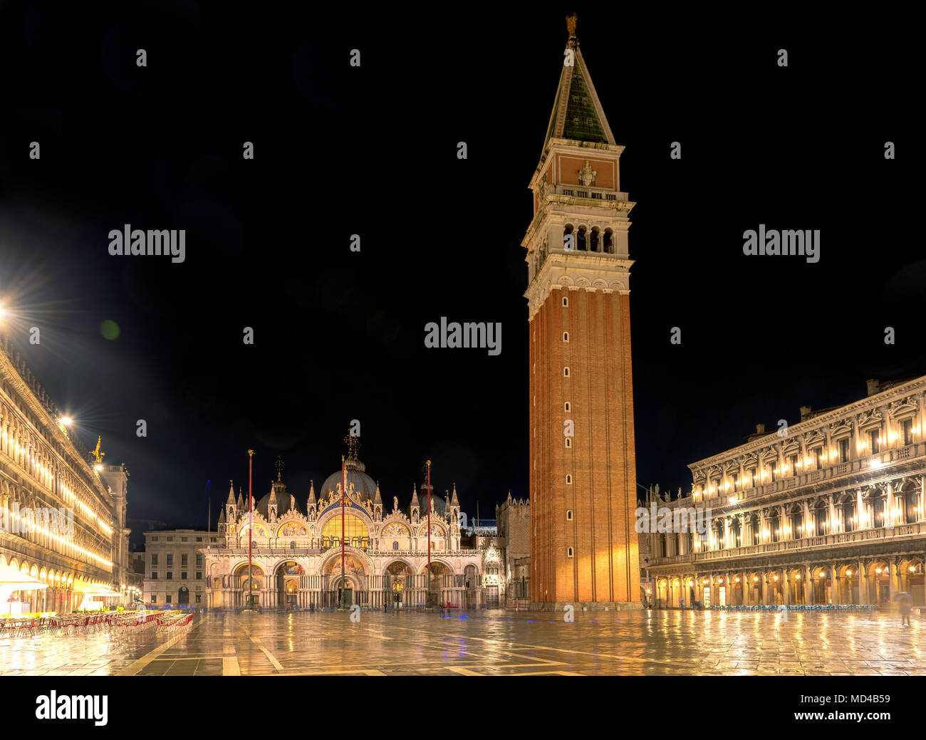 Schönen San Marco Square bei Nacht, Venedig Italien. Stockfoto