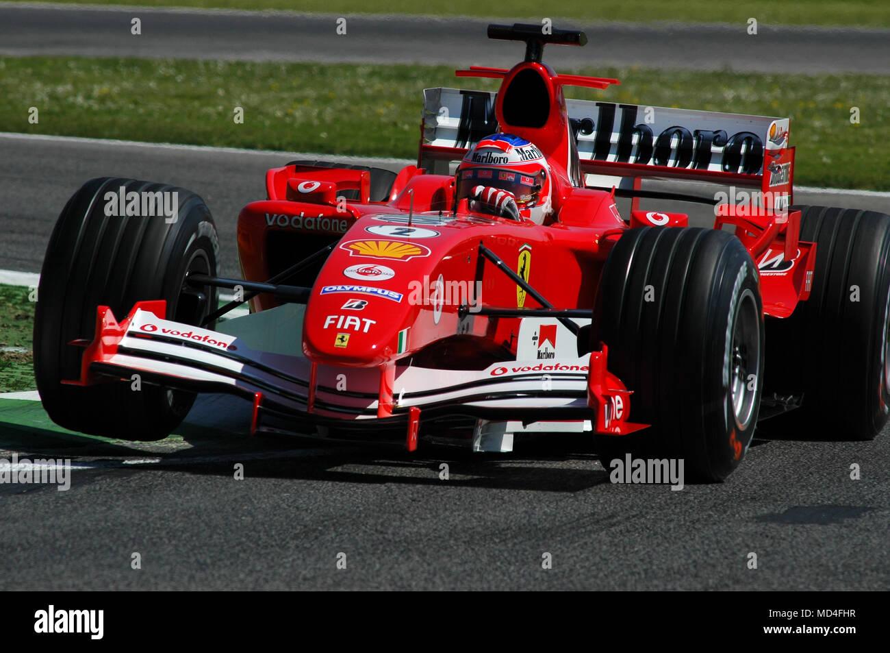 22 April 2005 Grand Prix Von San Marino Der Formel 1 Rubens Barrichello Fahren Ferrari F1 Während Qualyfing Sitzung In Imola In Italien Stockfotografie Alamy