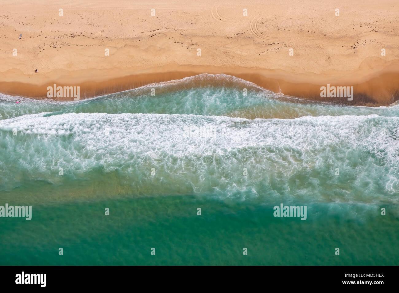 Abstrakte Luftaufnahmen von 9 Mile Beach, Lake Macquarie, NSW, Australien Stockfoto