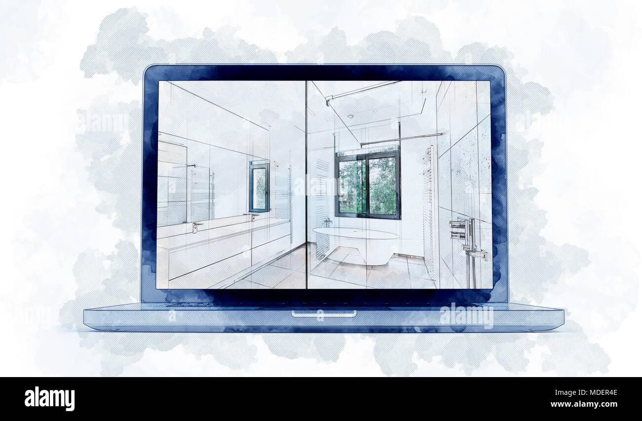 Digitales Werk Skizze eines modernen Laptop und Träumen Abbildung ...