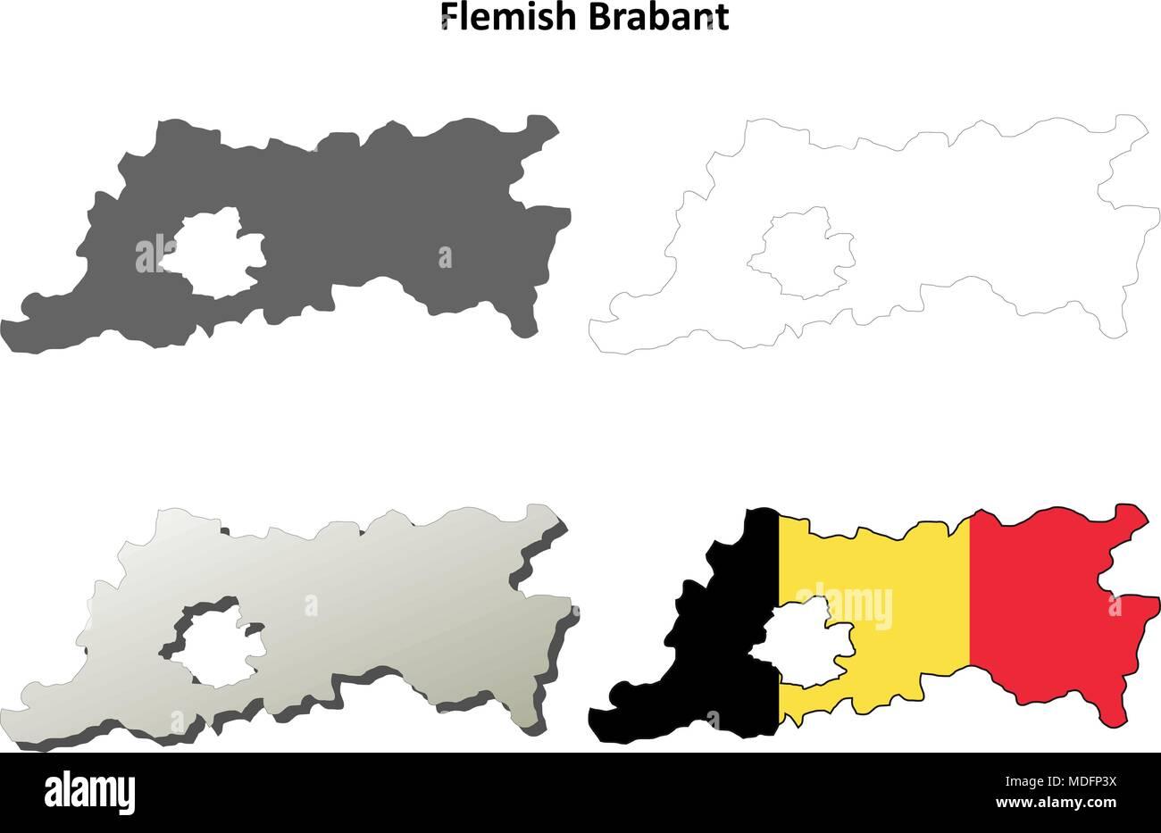 Belgien Karte Umriss.Flämisch Brabant Umriss Karte Set Belgische Version Vektor