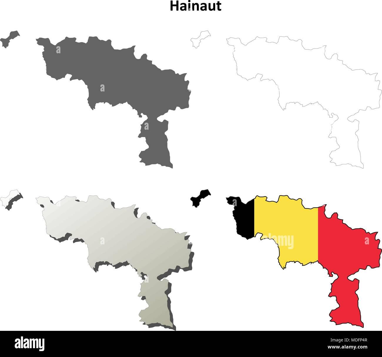 Belgien Karte Umriss.Hainaut Umriss Karte Set Belgische Version Vektor Abbildung Bild