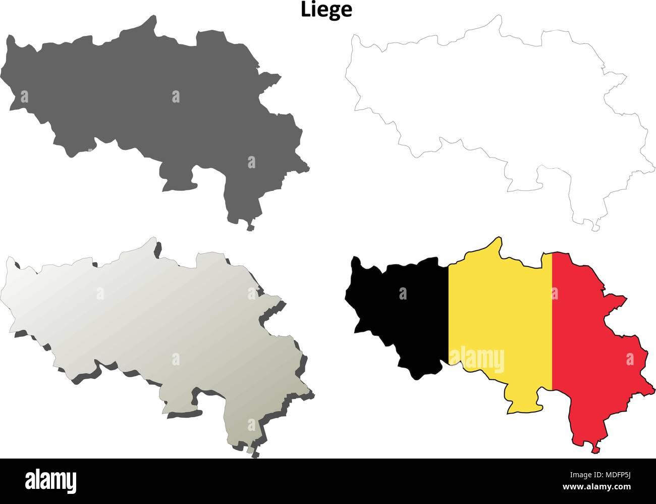 Belgien Karte Umriss.Lüttich Umriss Karte Set Belgische Version Vektor Abbildung Bild