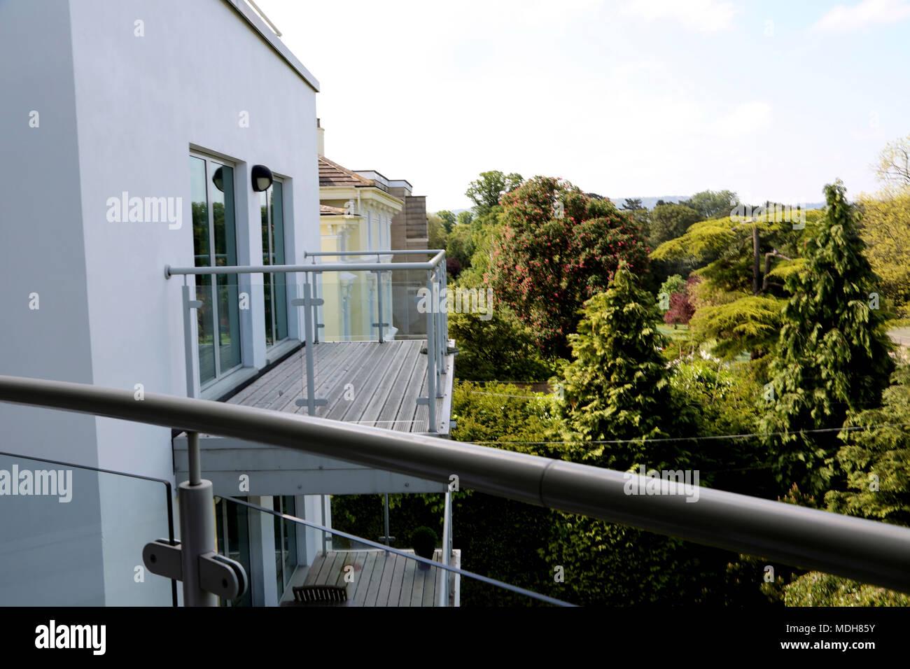 Balkon des Hauses Cheltenham Gloucestershire England Stockbild