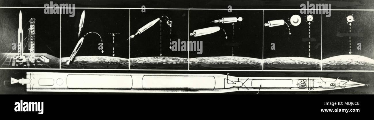 Grafische Darstellung von künstlichen Satelliten, die Lieferung um die Rakete Vektor, 1950er Jahre Stockbild
