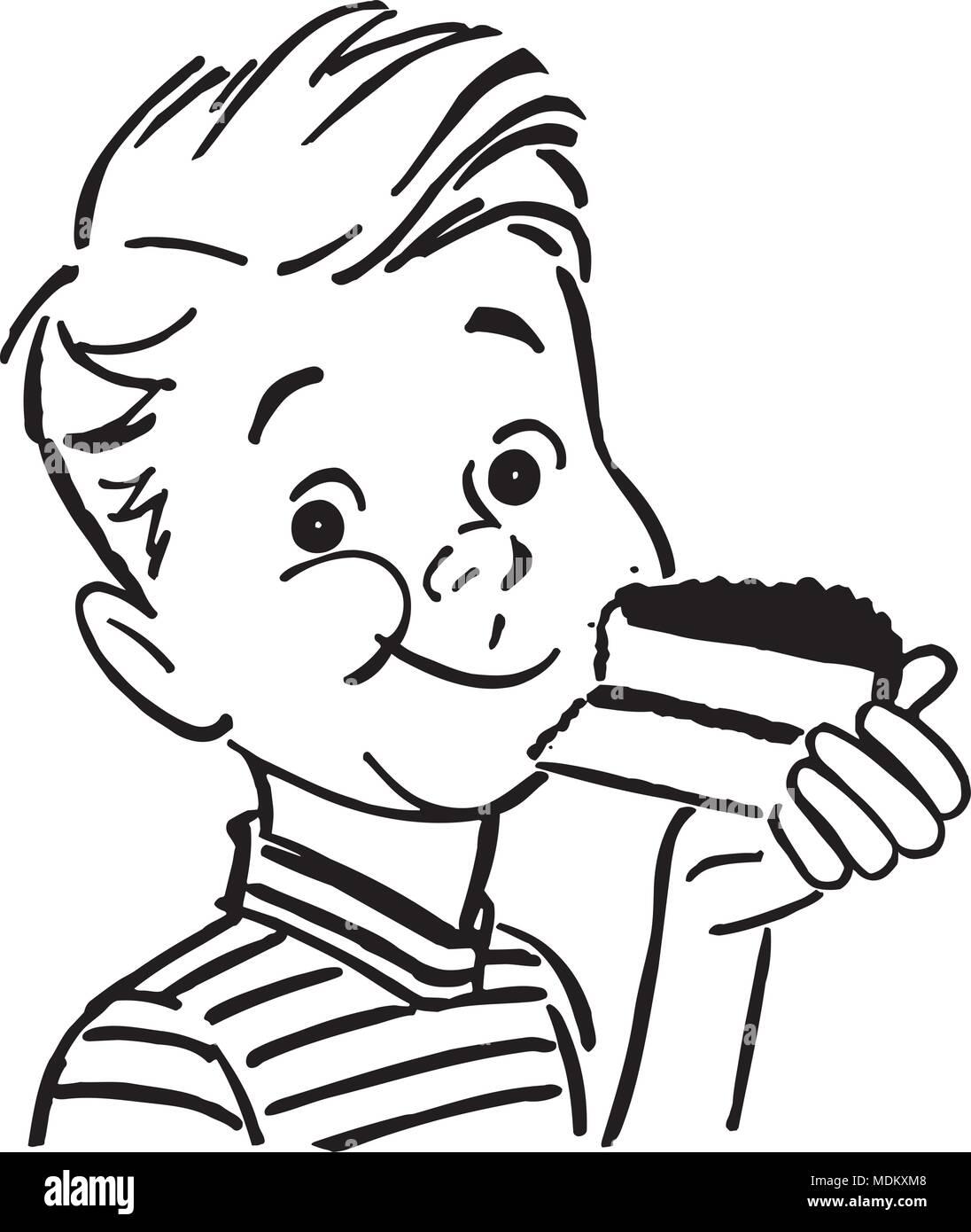 Junge Kuchen Essen Retro Clipart Illustration Vektor Abbildung
