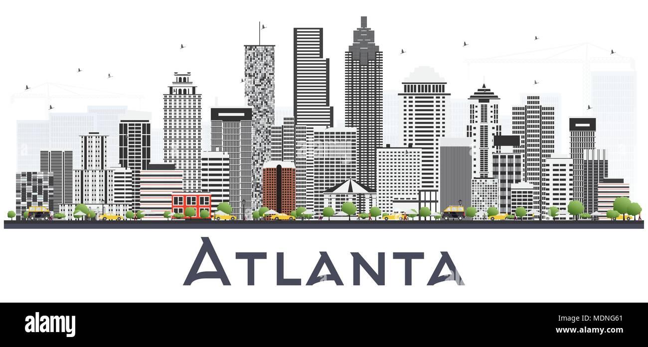 atlanta georgia usa skyline der stadt mit grauen gebäude isoliert auf  weiss. vector illustration. business travel und tourismus konzept mit  modernen gebäuden stock-vektorgrafik - alamy  alamy