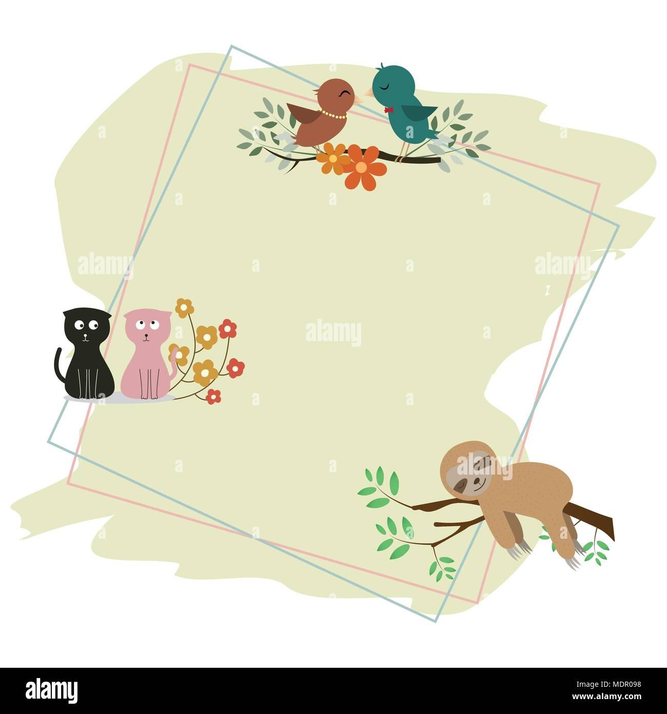 Cute cartoon quadratischen Rahmen mit Blume und Blumen Vektor ...