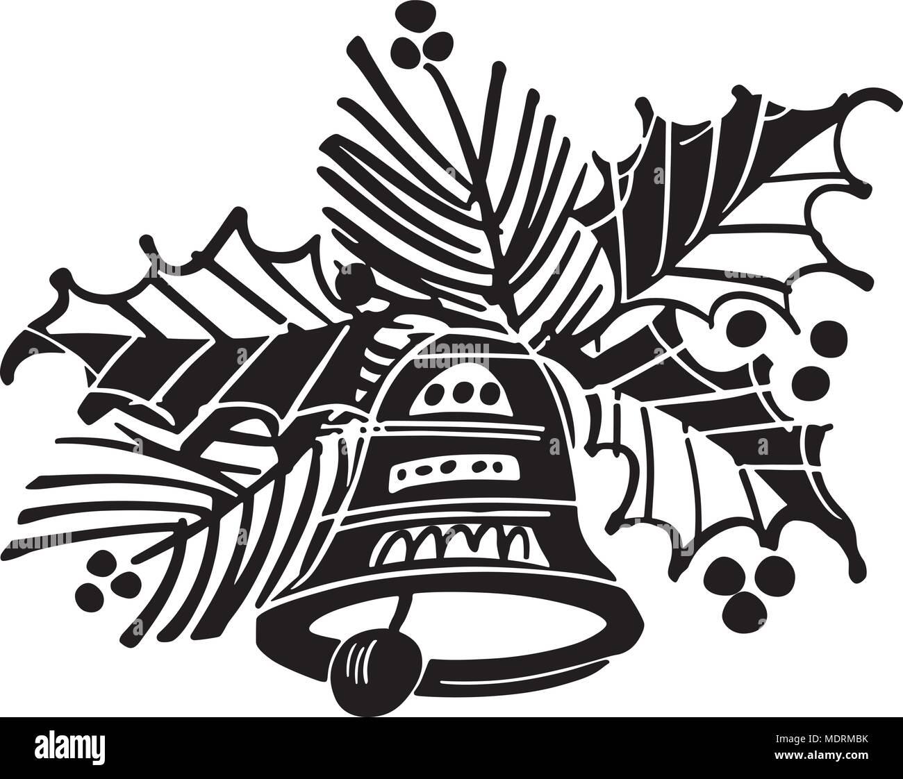 Weihnachten Glocke mit Holly-Retro Clipart Illustration Vektor ...