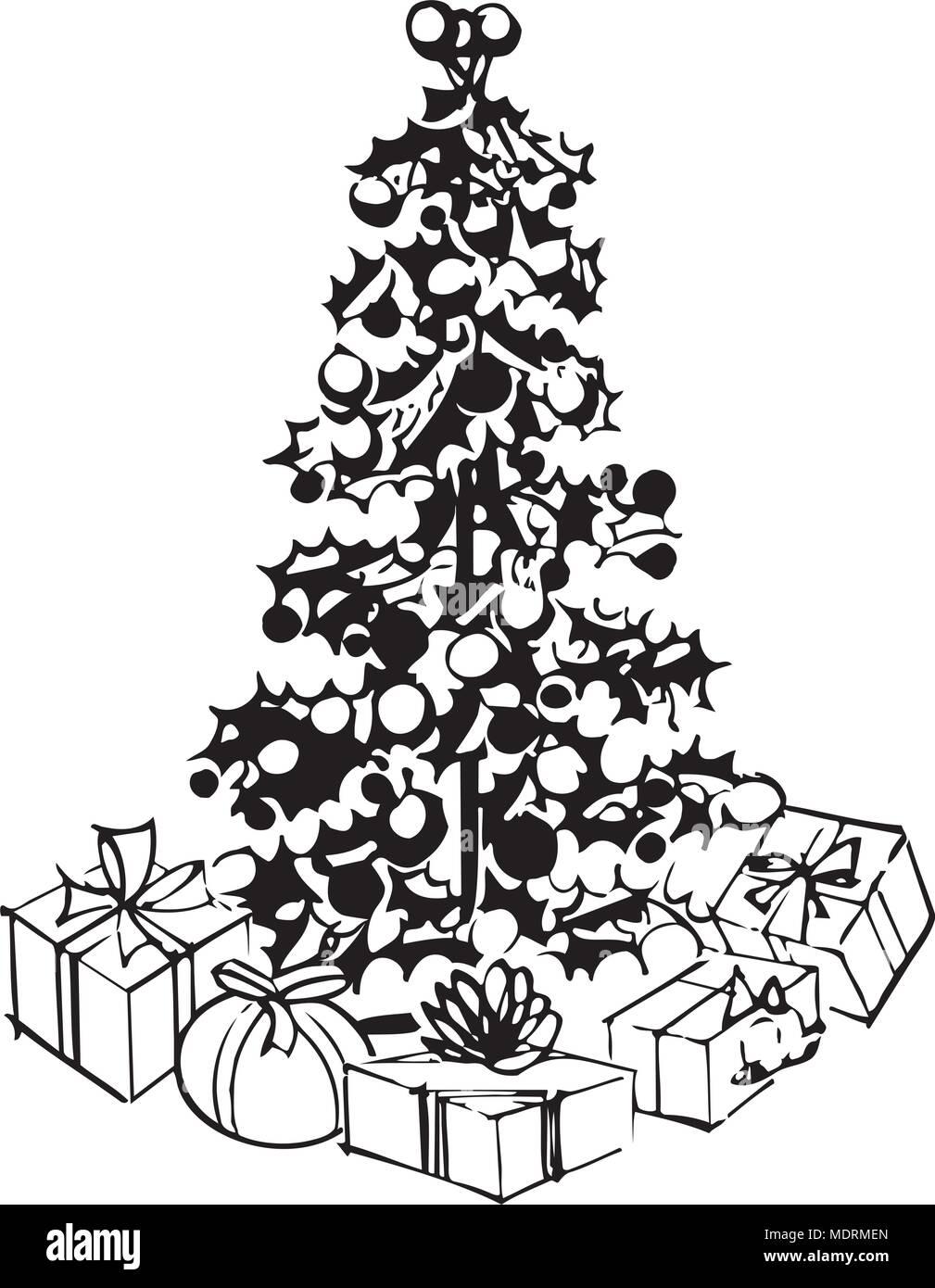Weihnachtsbaum Clipart.Weihnachtsbaum Und Geschenke Retro Clipart Illustration Vektor