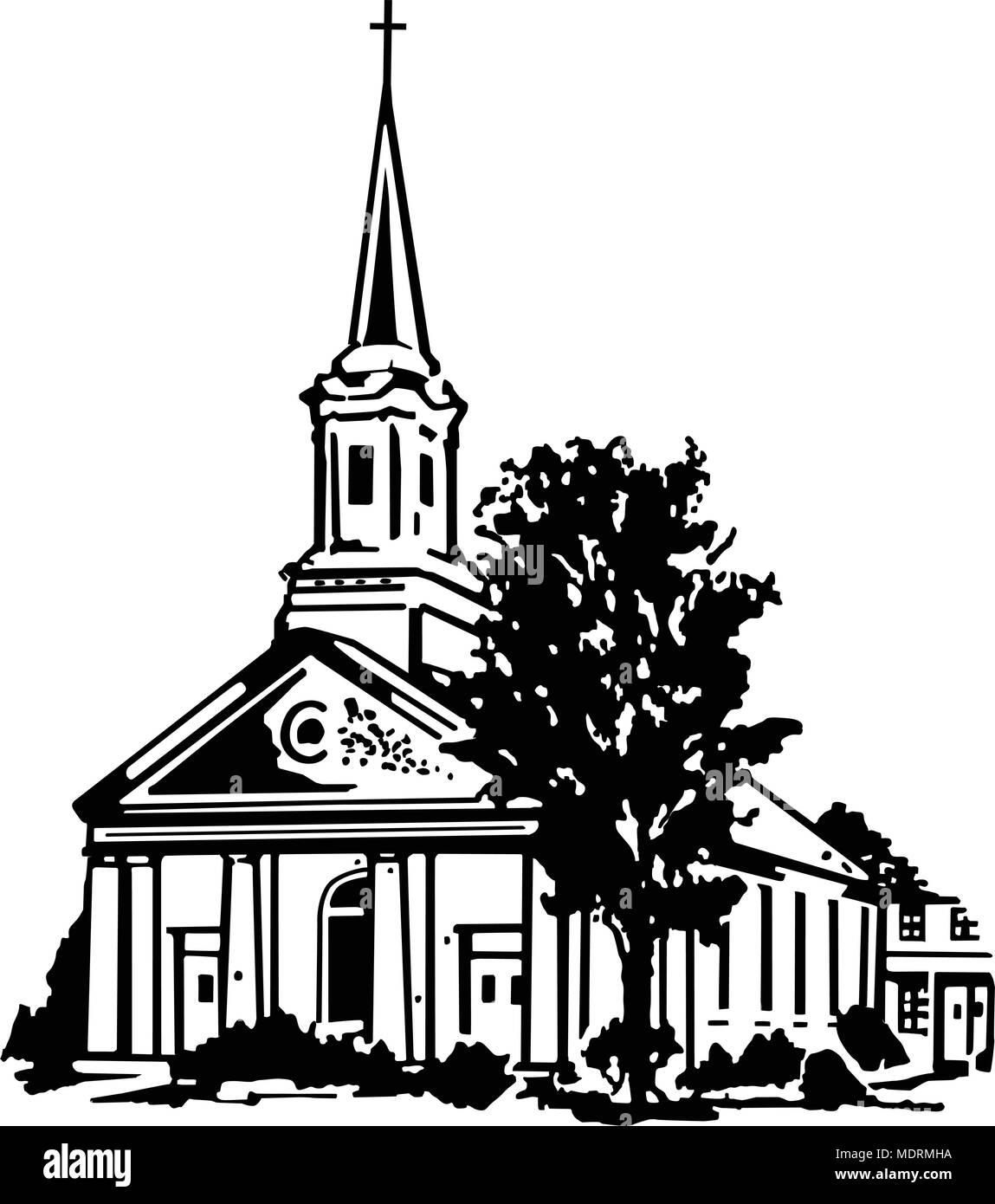 Kirche Retro Clipart Illustration Vektor Abbildung Bild