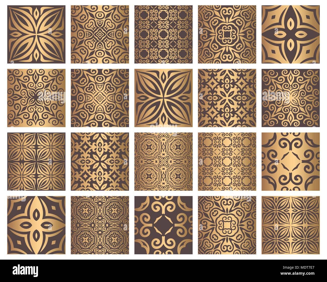 Vektor Fliesen Muster. Nahtlose Hintergründe mit goldenen Elemente ...