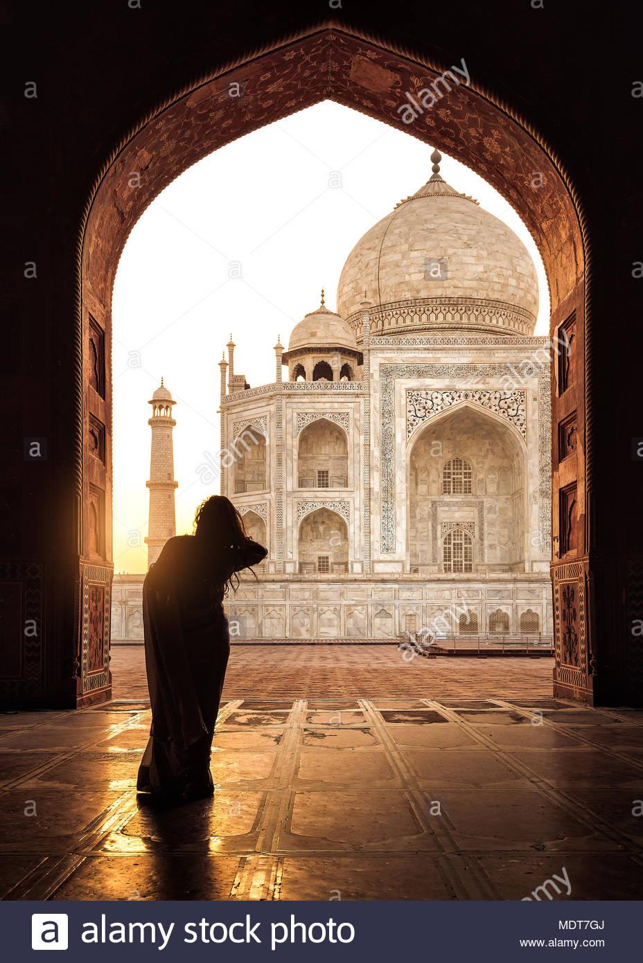 Frau, Kau Verbot, Taj Mahal, Indien Stockbild