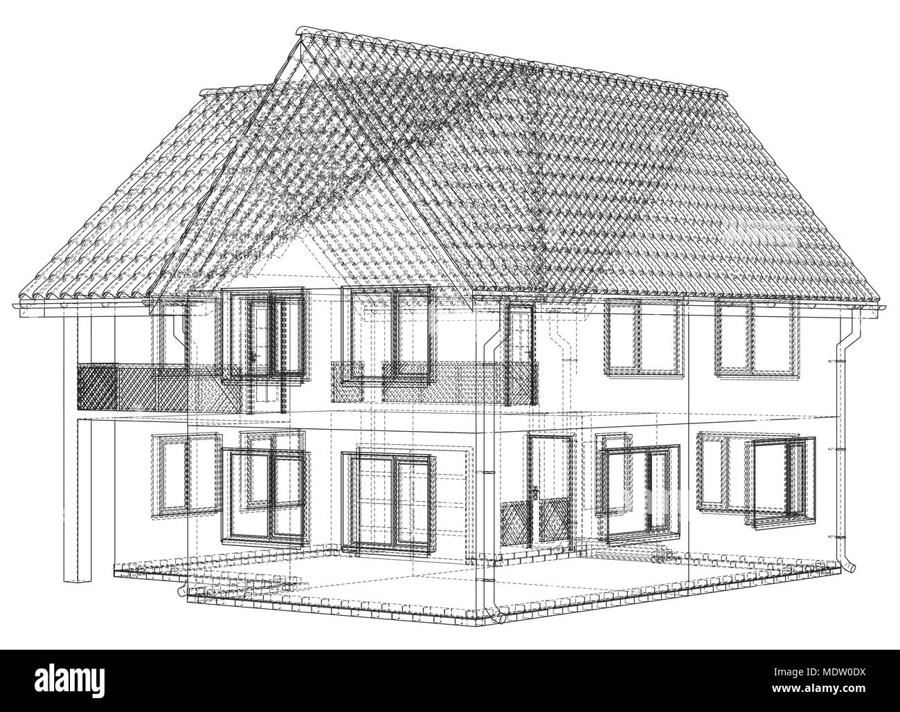 Drahtmodell Bauplan Zeichnen Von 3d Haus Vector Illustration Vektor