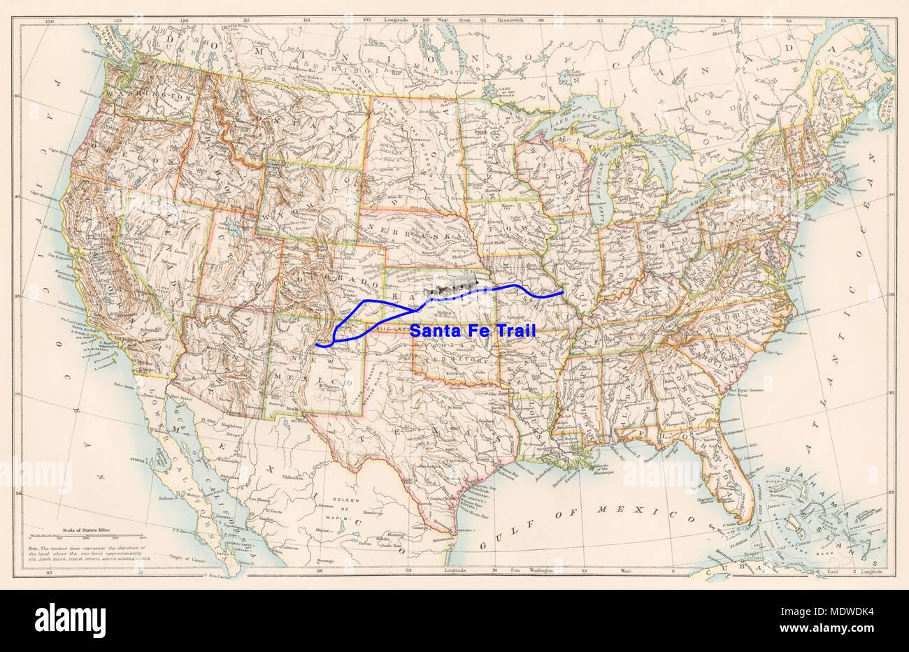 Santa Fe Trail Map Stockfotos & Santa Fe Trail Map Bilder - Alamy