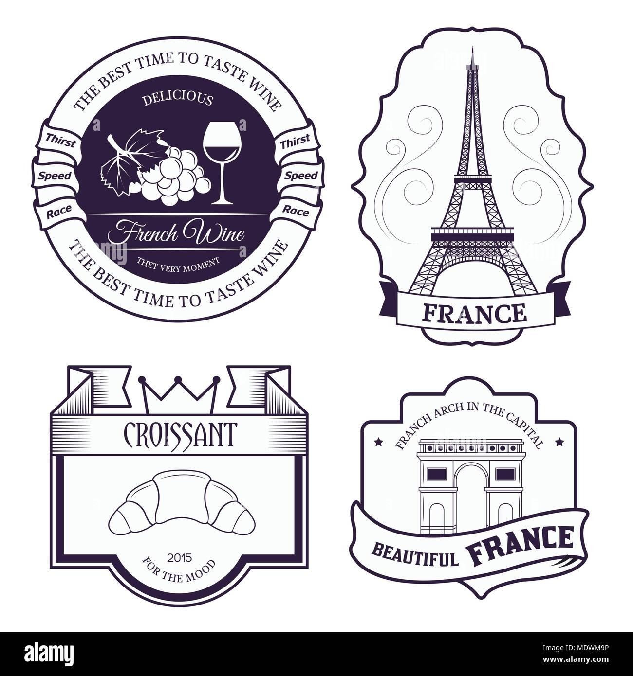Land Frankreich set label Vorlage von emblem Element für Ihr Produkt ...