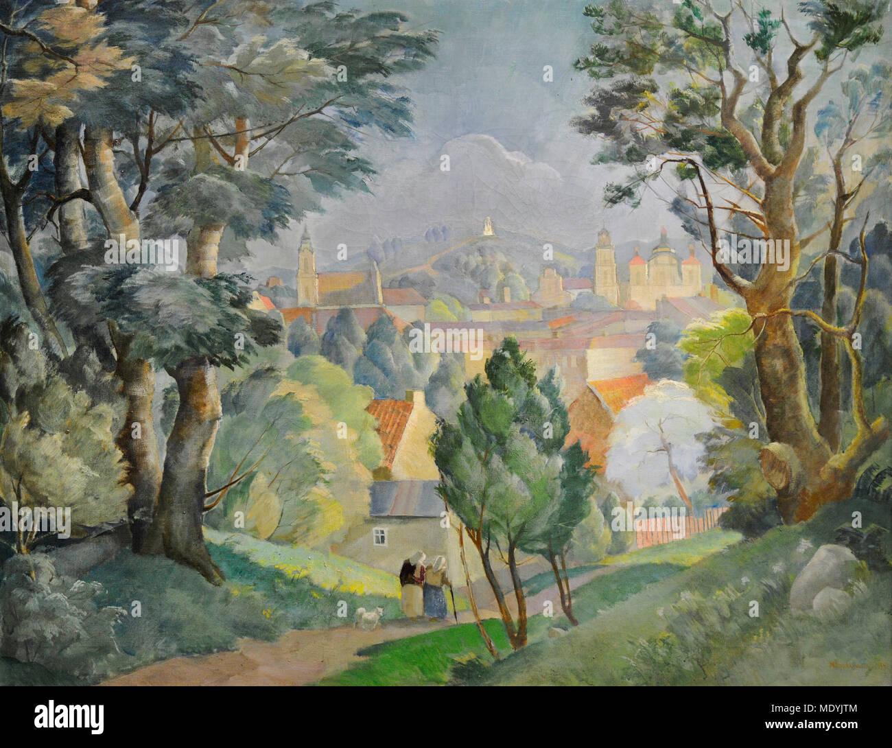 Michal Rouba (1893-1941). Polnische Maler. Panorama von Vilnius von Tauras Hill, 1934. National Gallery Kunst Vilnius, Litauen. Stockbild