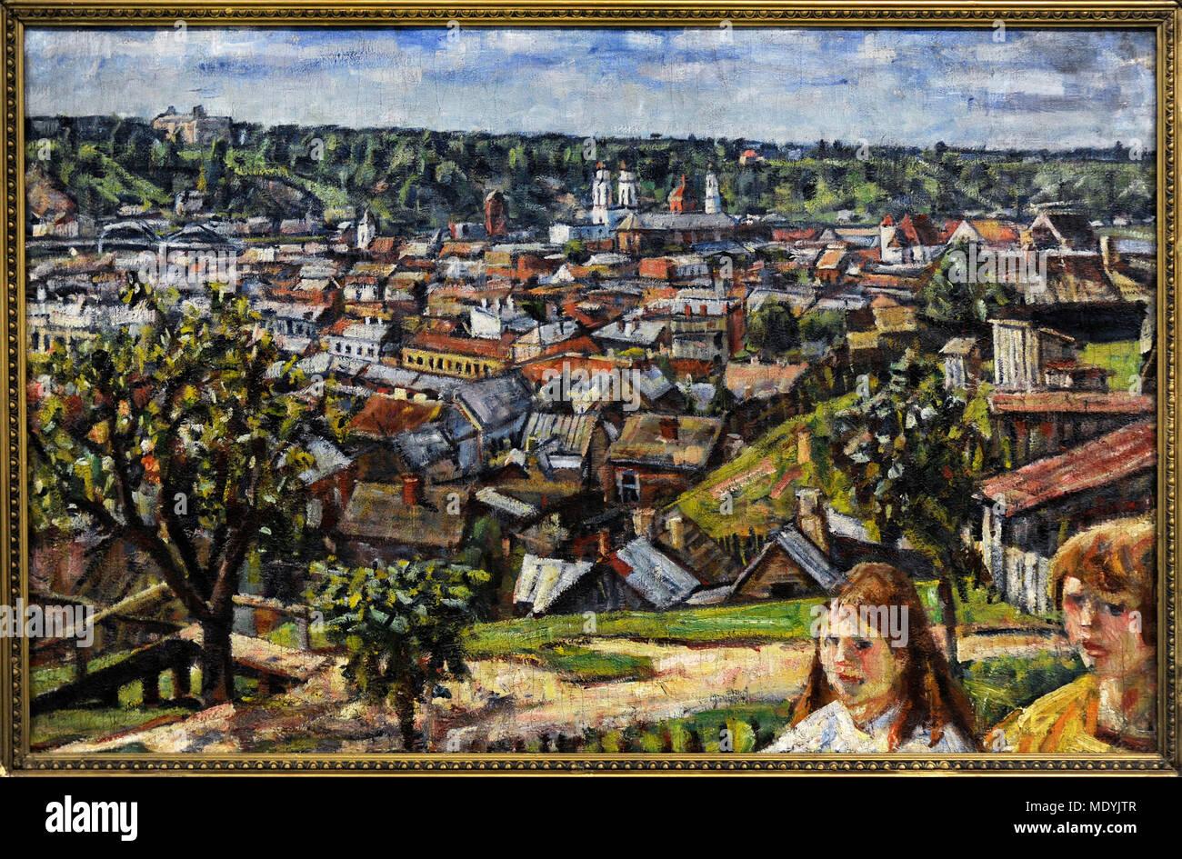 Vladas Eidukevicius (1891-1941). Litauische Maler. Blick auf Kaunas von zaliakalnis Hill, 1933. National Gallery Kunst Vilnius, Litauen. Stockbild