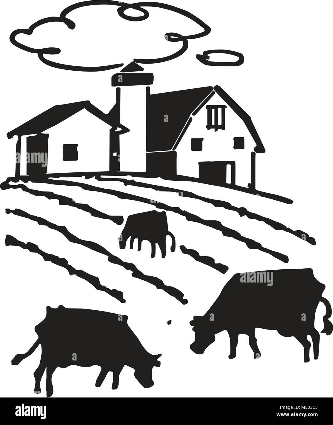 Grasende Kühe Auf Dem Bauernhof Retro Clipart Illustration Vektor