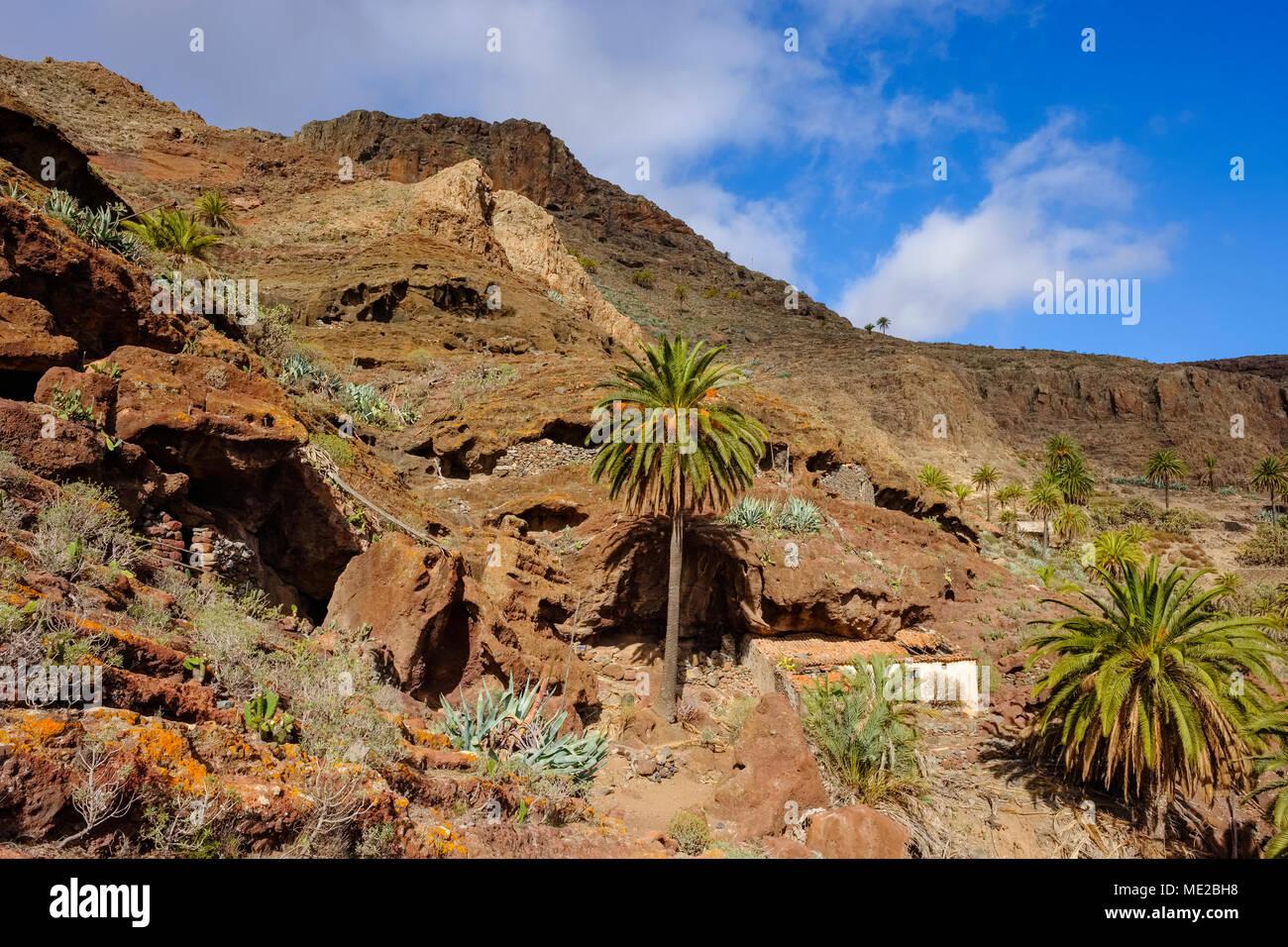 Alte Höhle Wohnung auf Calvario Berg, Alajero La Gomera, Kanarische Inseln, Spanien Stockbild