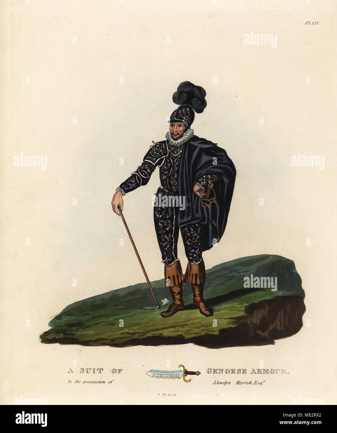 Eine Klage von einem Genuesischen demi-launcers'Armor im Besitz von Llewelyn Meyrick, 1543. Schwarze Rüstung mit angehobenem Laub; pauldrons, Ellenbogen und Knie - Stücke mit der angehobenen Löwenköpfe. Schwert - Brechen der Waffe. Papierkörbe Lithographie von maddocks nach einer Abbildung von S.R. Meyrick von Sir Samuel Rush Meyrick ist eine kritische Untersuchung Antient Rüstung, John dowding, London, 1842. Stockbild