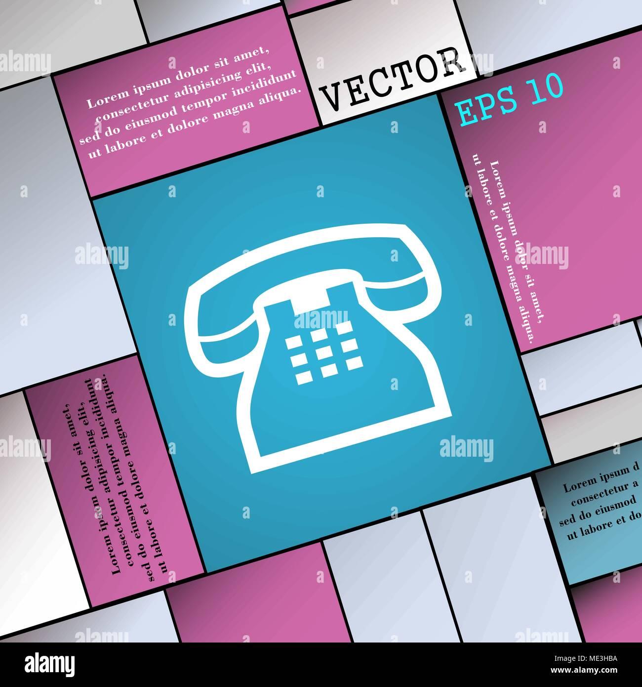 Retro Telefonhörer Unterzeichnen Moderne Wohnung Stil Für Ihr