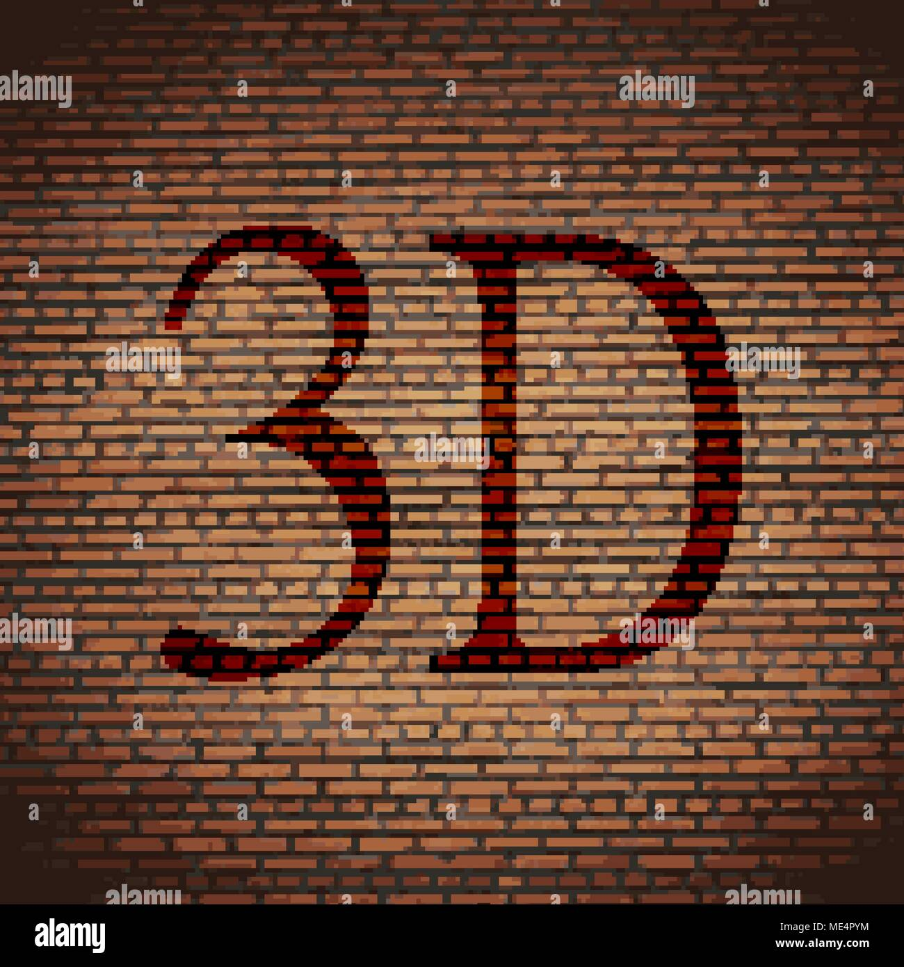 3d Illustration Brick Wall Diagonal Stockfotos 3d Illustration