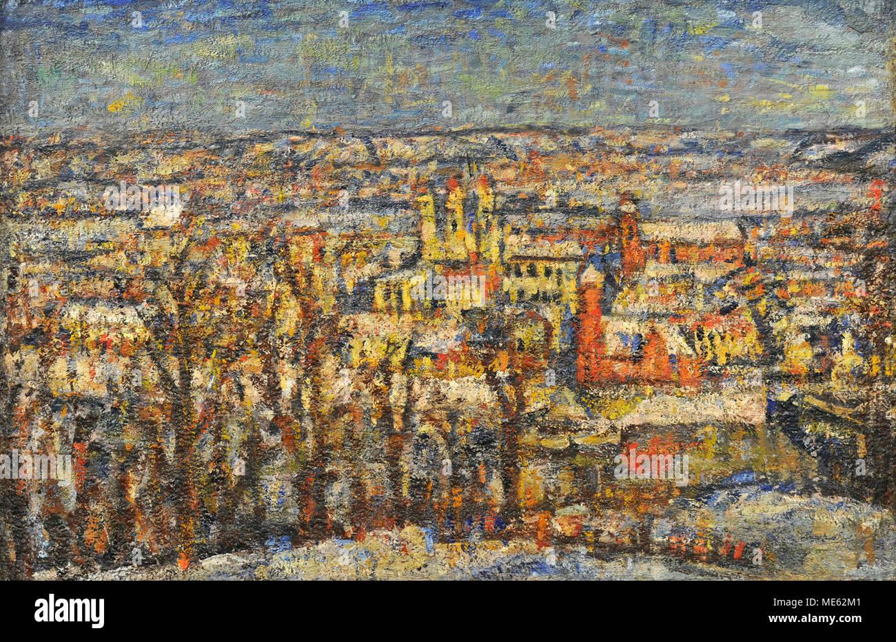 Vladas Eidukevicius (1891-1941). Litauische Maler. Panorama von Kaunas, nach 1935. National Gallery Kunst Vilnius. Litauen. Stockbild