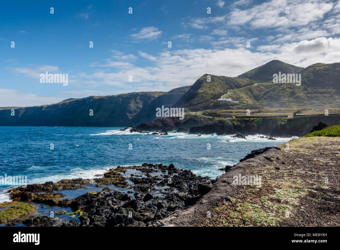 Landschaft Von Den Vulkanischen Strand Von Mosteiros In Sao Miguel