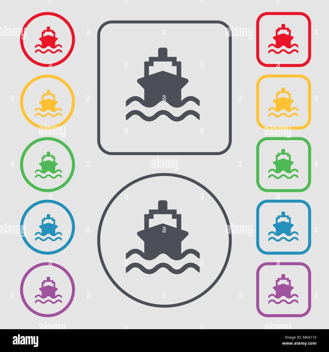 Schiff Symbol unterzeichnen. Symbol auf der Runde und quadratische ...