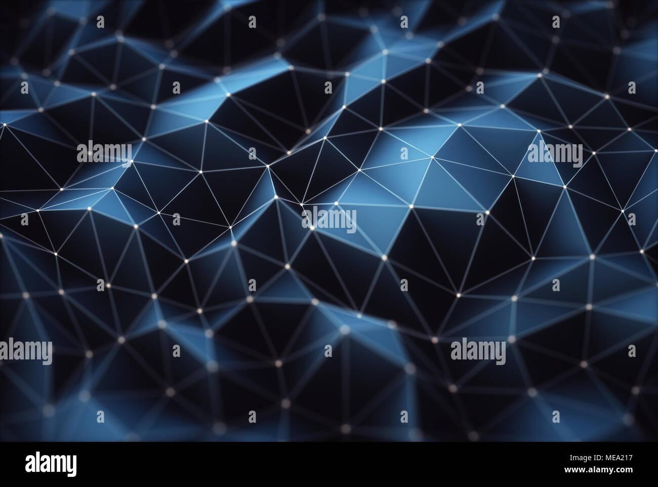 3D-Darstellung. Abstraktes Bild, Verbindungen in Linien und geometrische Formen. Konzept der Technologie für den Einsatz als Hintergrund. Stockbild