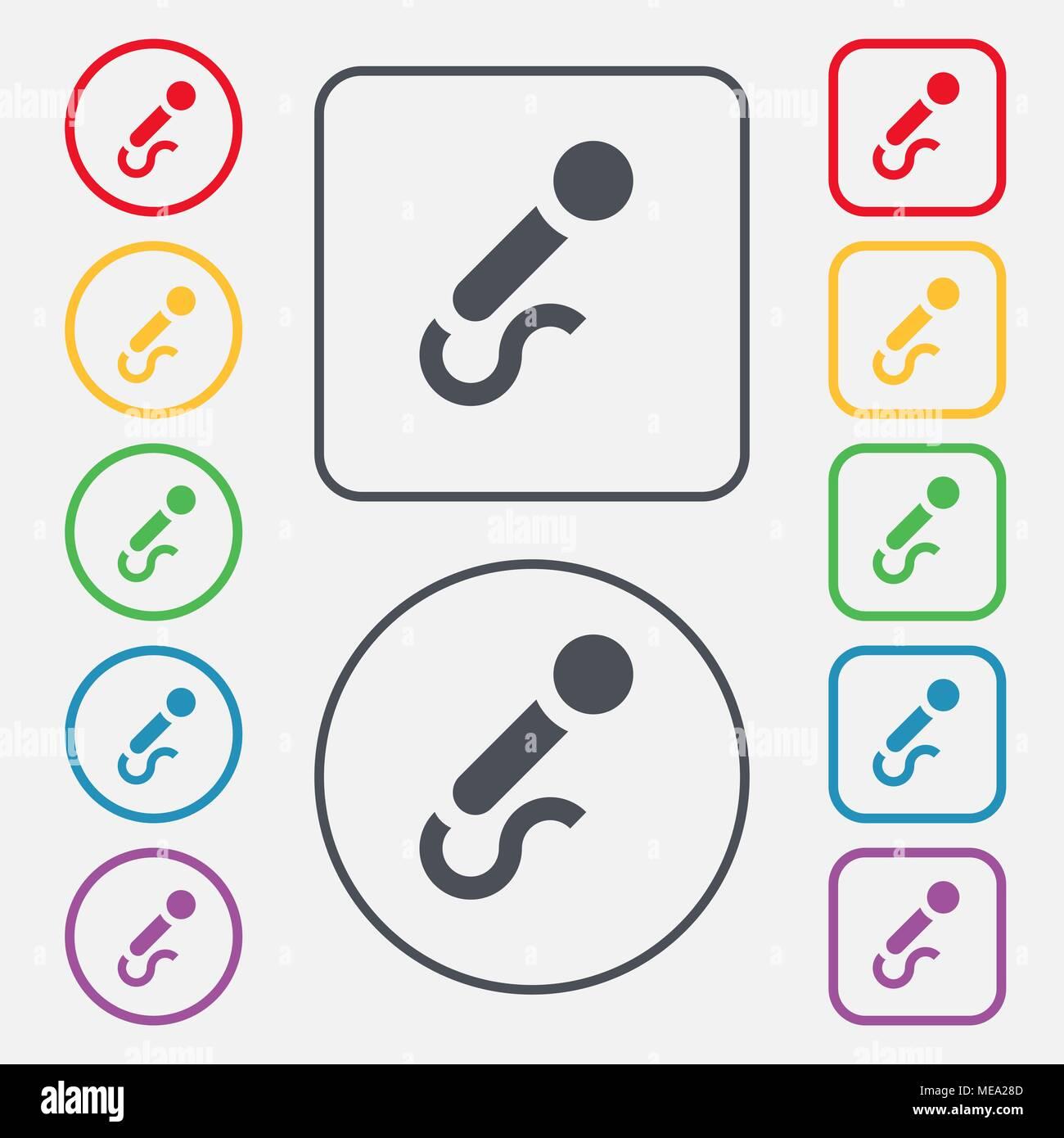 Symbol Mikrofon unterzeichnen. Symbol auf der Runde und quadratische ...