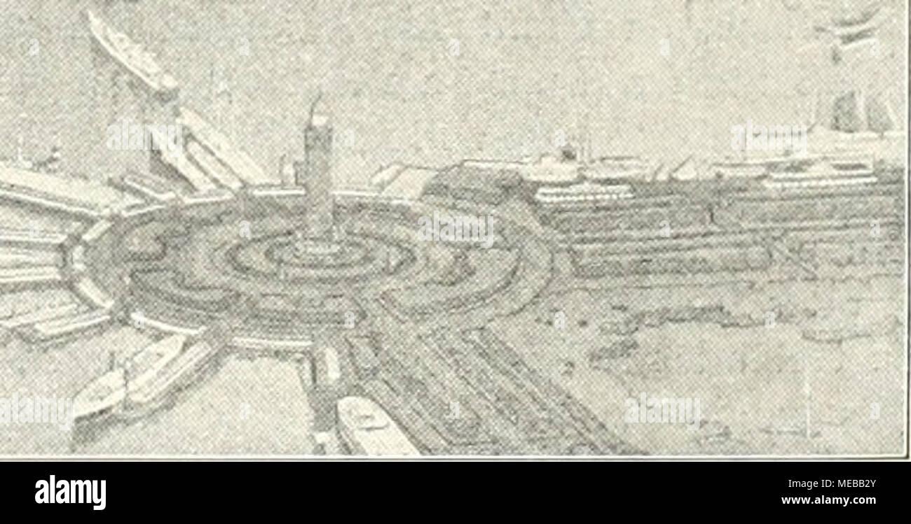 . Gartenkunst sterben. Blick auf den geplanten Yachthafen und den daran anschiiefsenden Lagunenpark in Chicago. Rechts der Grantpark. Bundeshauptstadt Washington von L'Enfant, der größten - Ganzs auf dem Papier stehen geblieben und Gelegent-lich des Jubiläumsfestes im Jahre 1900 ausgegeben worden ist, um von dem heutigen Parkausschusse, neu belebt und den neuzeitlichen Verhältnissen angepaßt, die gesamte Umgegend von Washington ausgedehnt zu werden. Wir finden da ferner den Plan des Zentralparkes von New York, der 340 ha groß, Ende der fünfziger Jahre des vorigen Jahrhundertes nach Plänen von Stockbild