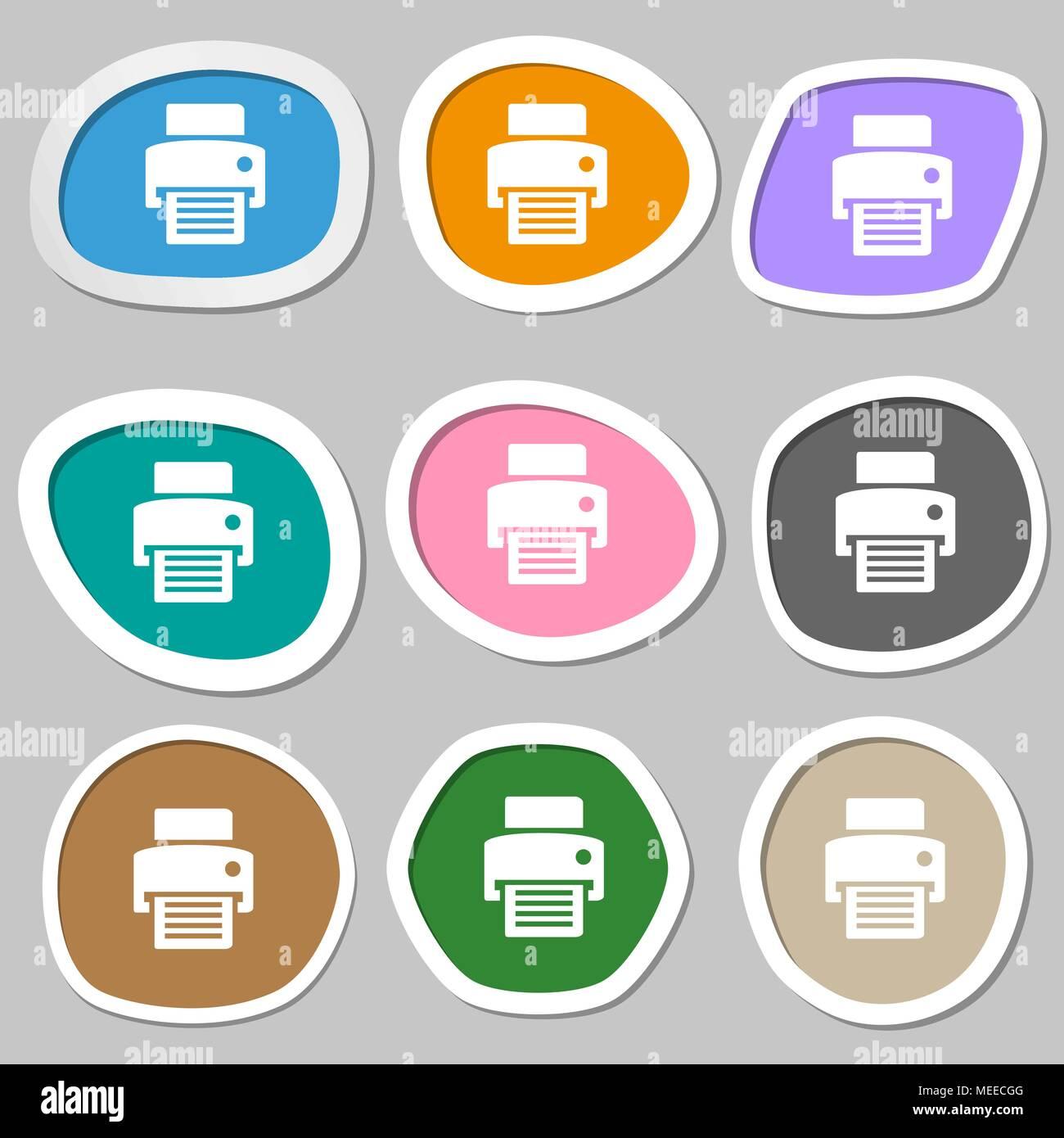 Fax Drucker Symbole Mehrfarbige Aufkleber Aus Papier