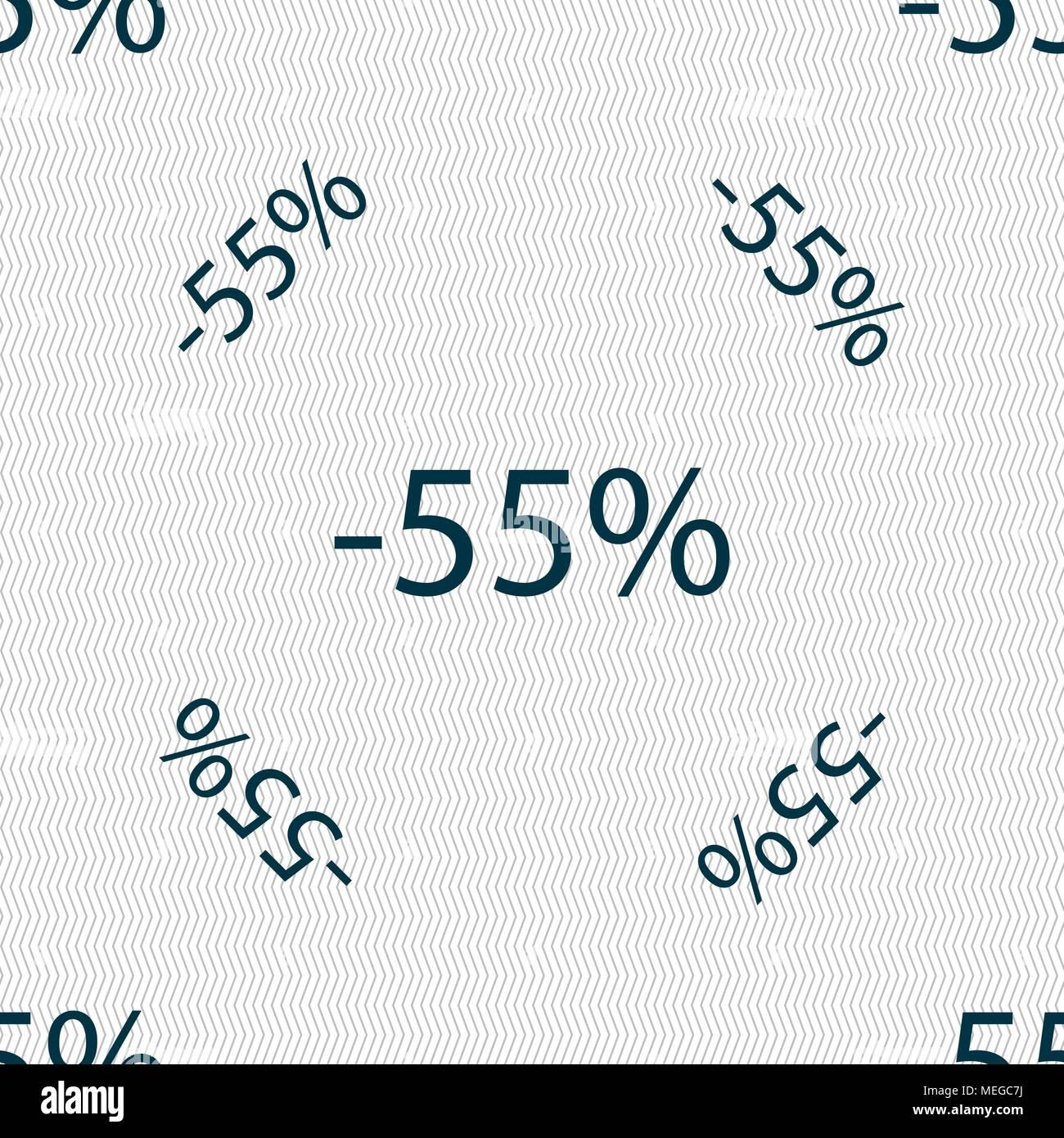 55 Prozent Rabatt Zeichen Symbol Verkauf Symbol Angebot Label