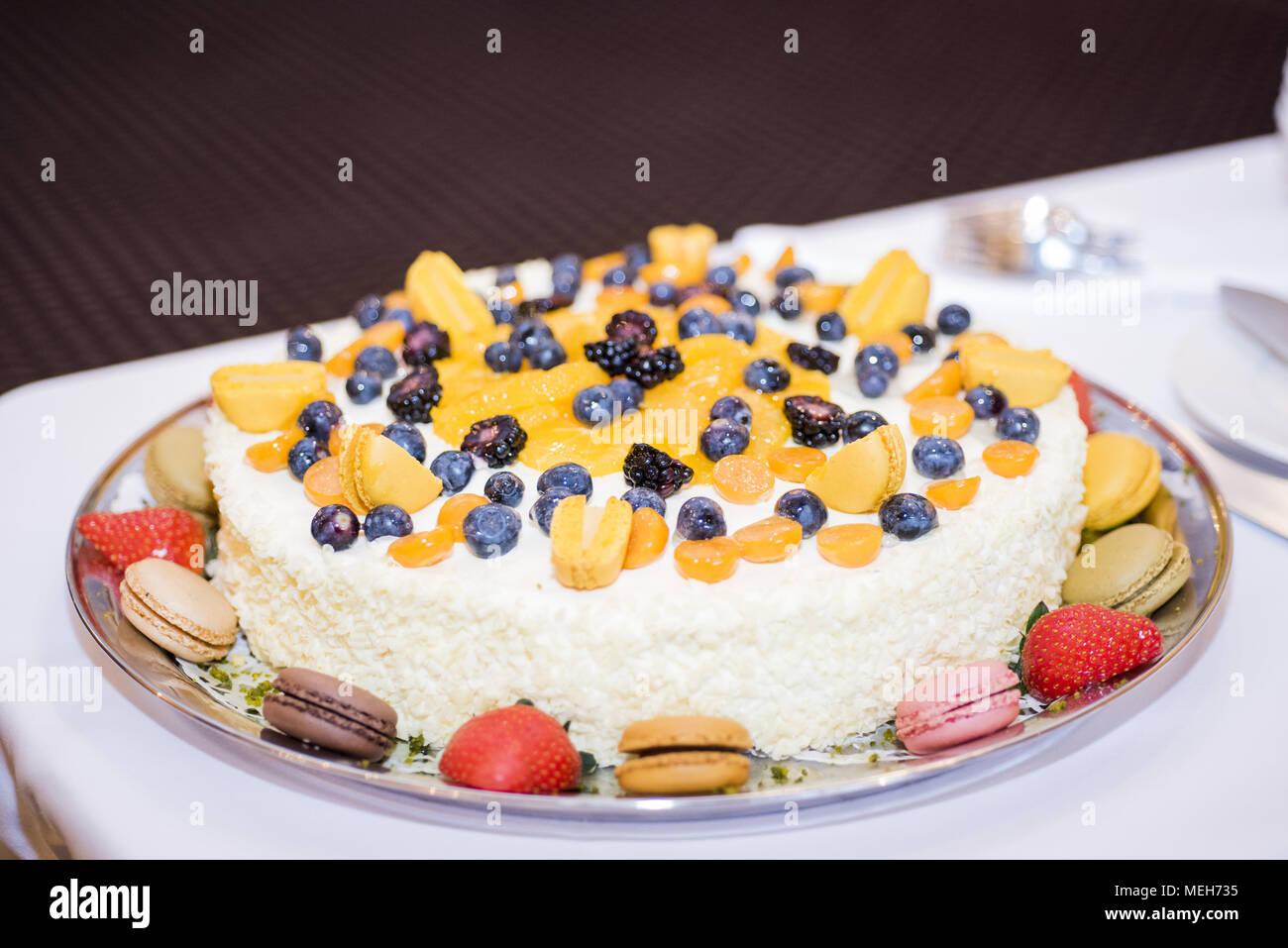 Quark Kuchen Mit Beeren Makro Foto Hochzeit Essen Foto Stockfoto